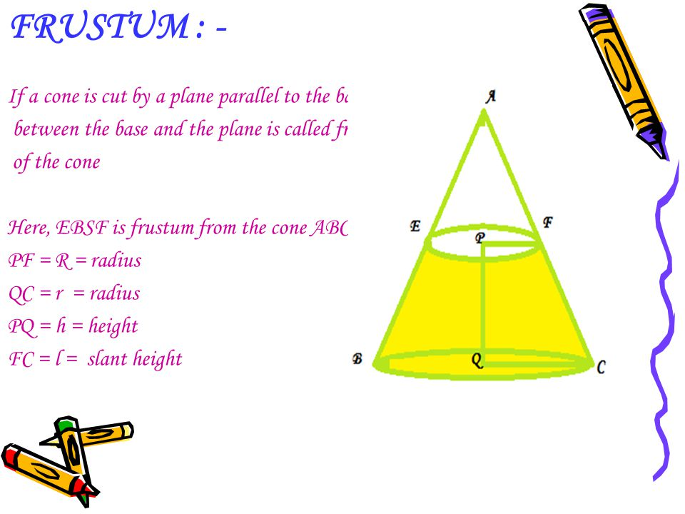 FRUSTUM : - If a cone is cut by a plane parallel to the base then the part. between the base and the plane is called frustum.