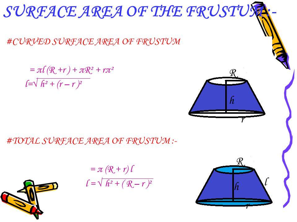 SURFACE AREA OF THE FRUSTUM :-