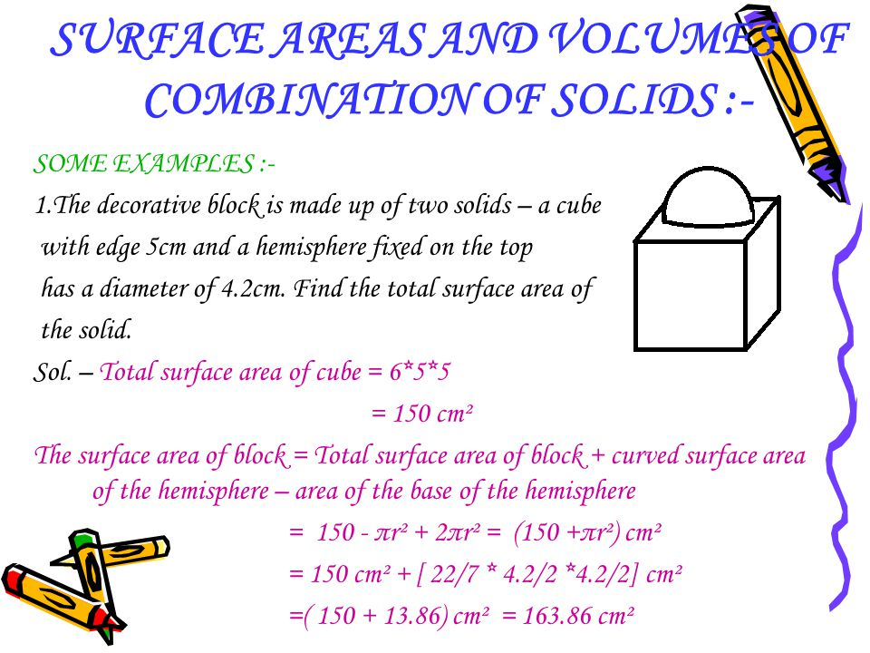 SURFACE AREAS AND VOLUMES OF COMBINATION OF SOLIDS :-