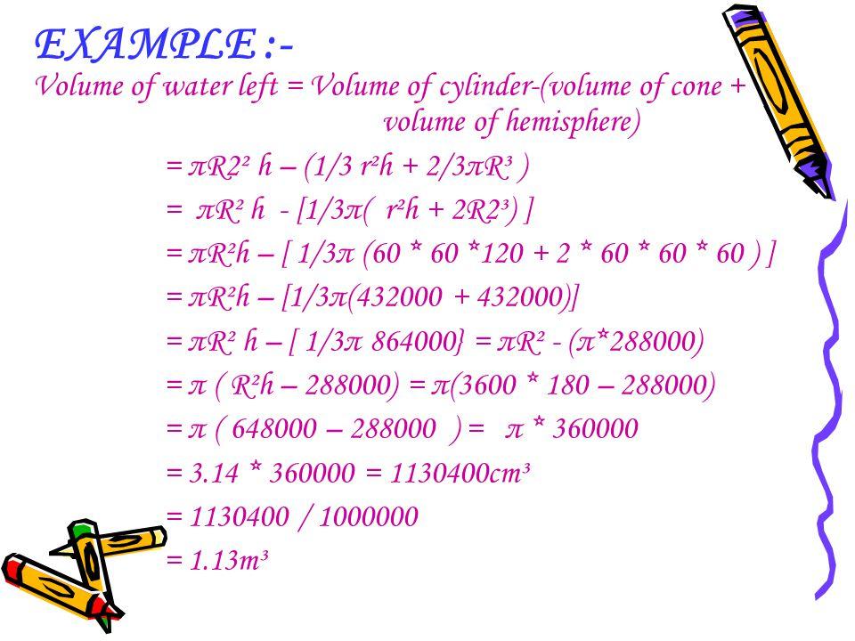 EXAMPLE :- Volume of water left = Volume of cylinder-(volume of cone + volume of hemisphere)