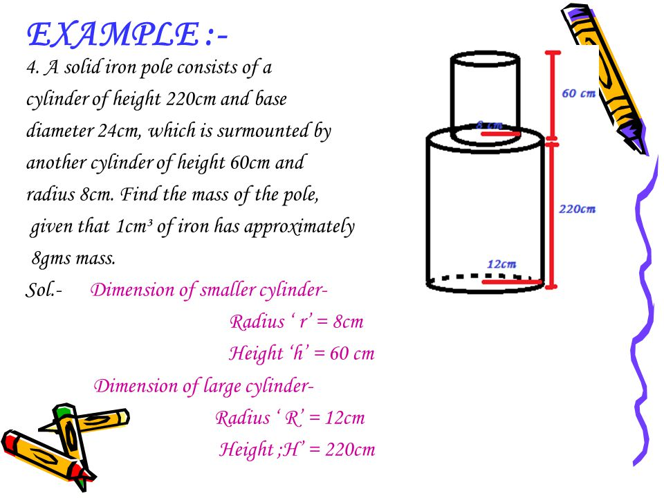 EXAMPLE :- 4. A solid iron pole consists of a