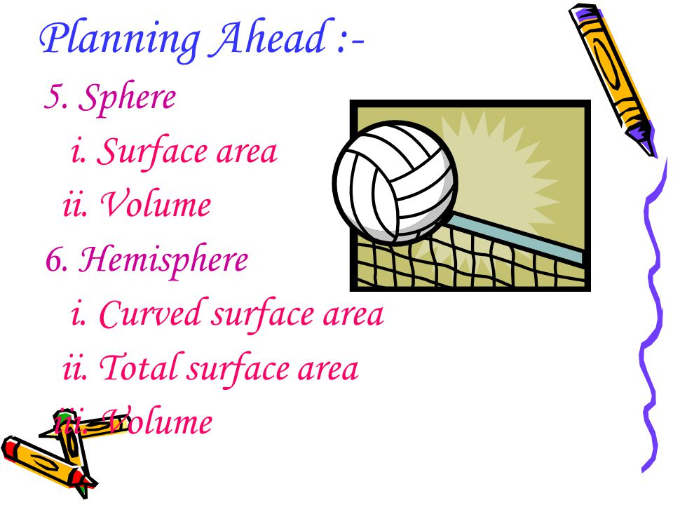 Planning Ahead :- 5. Sphere i. Surface area ii. Volume 6. Hemisphere