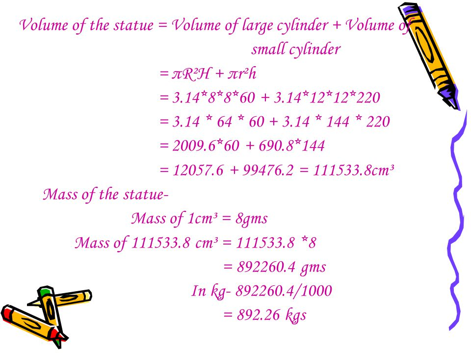Volume of the statue = Volume of large cylinder + Volume of