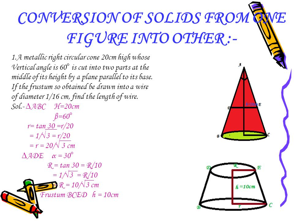 CONVERSION OF SOLIDS FROM ONE FIGURE INTO OTHER :-