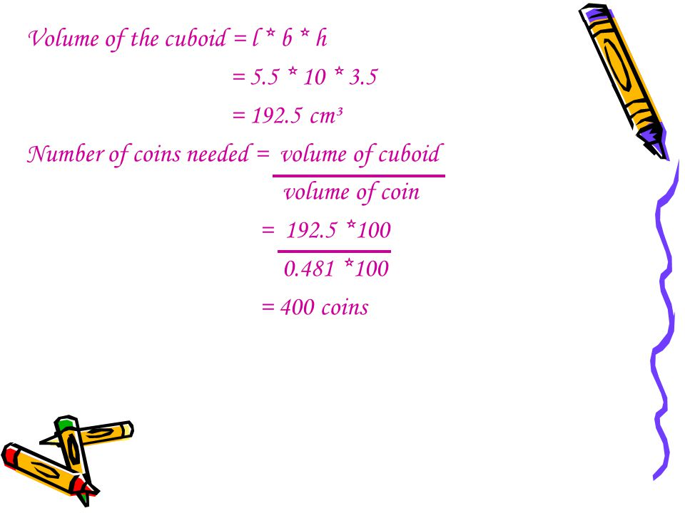 Volume of the cuboid = l * b * h