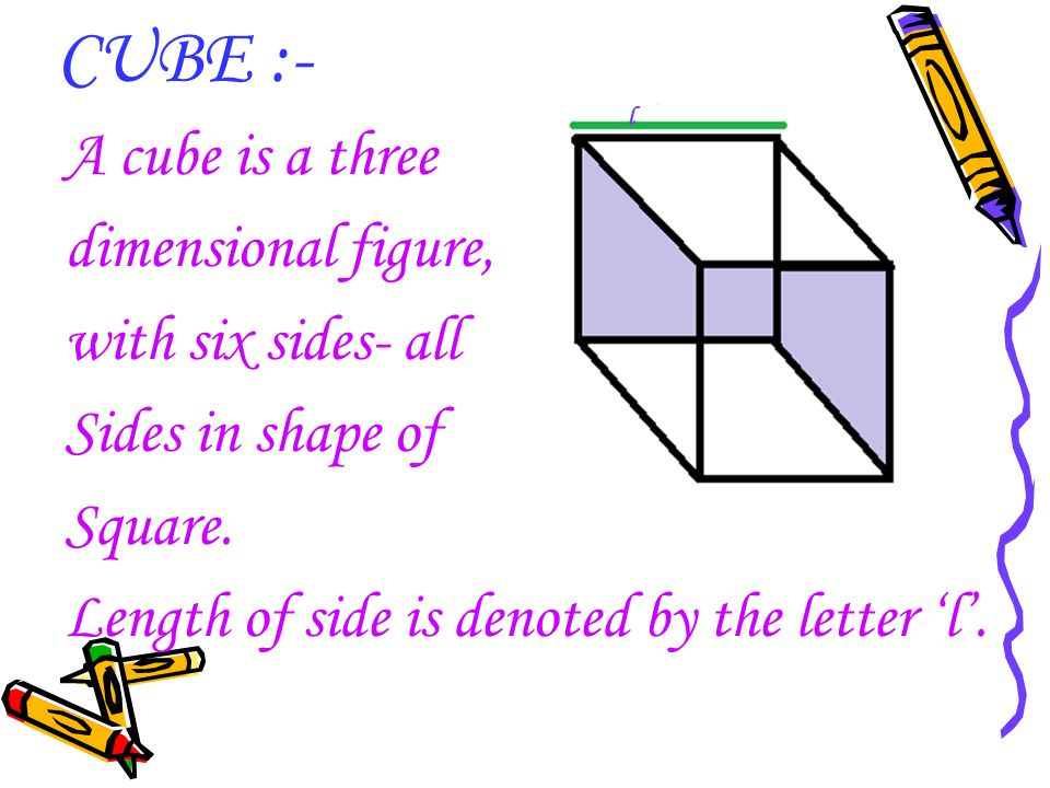 CUBE :- A cube is a three dimensional figure, with six sides- all