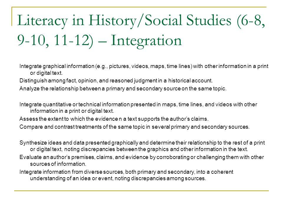 Literacy in History/Social Studies (6-8, 9-10, 11-12) – Integration