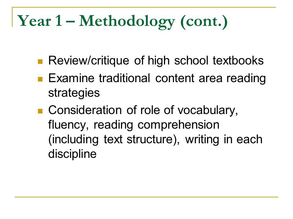 Year 1 – Methodology (cont.)