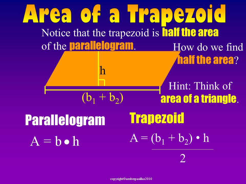Trapezoid Parallelogram Area of a Trapezoid h (b1 + b2)