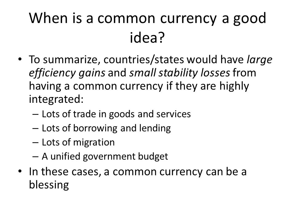When is a common currency a good idea