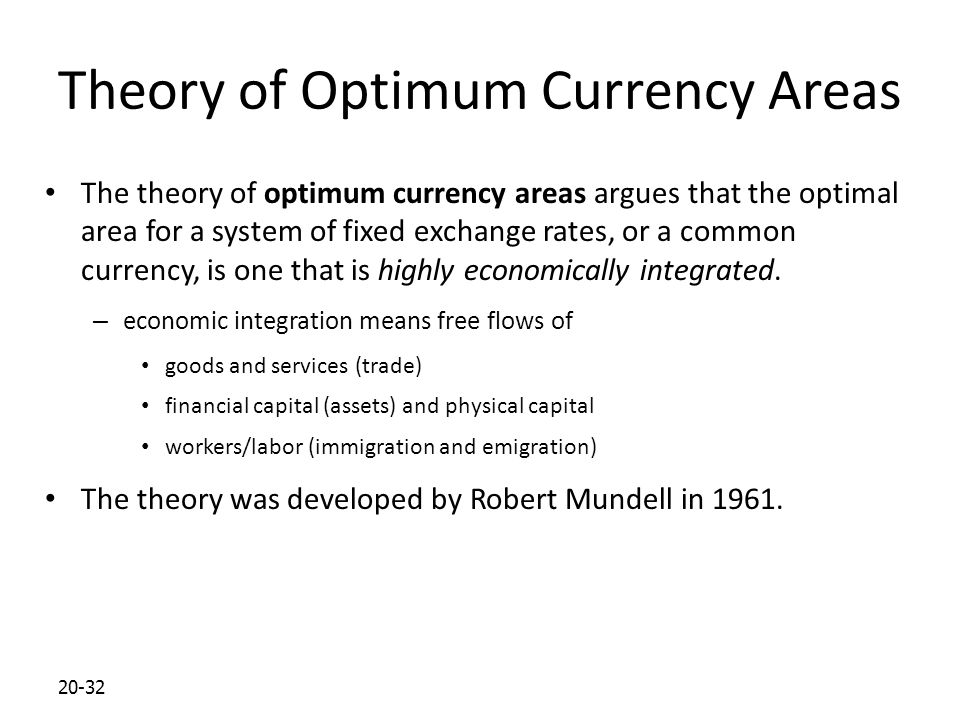 Theory of Optimum Currency Areas