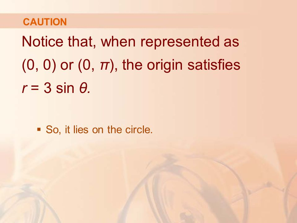 CAUTION Notice that, when represented as (0, 0) or (0, π), the origin satisfies r = 3 sin θ.