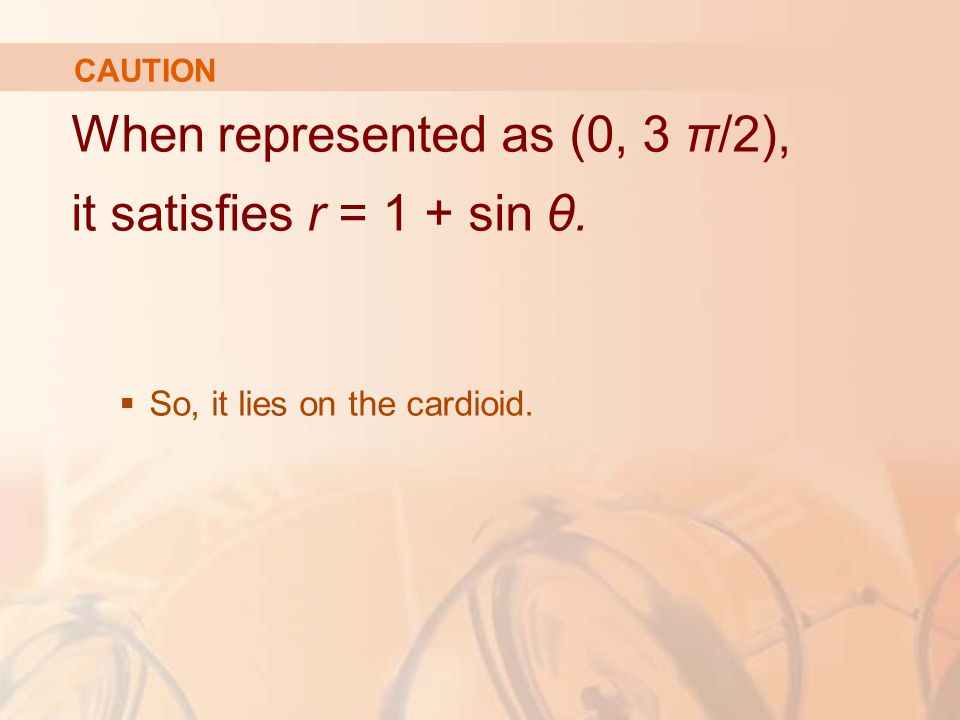 When represented as (0, 3 π/2), it satisfies r = 1 + sin θ.