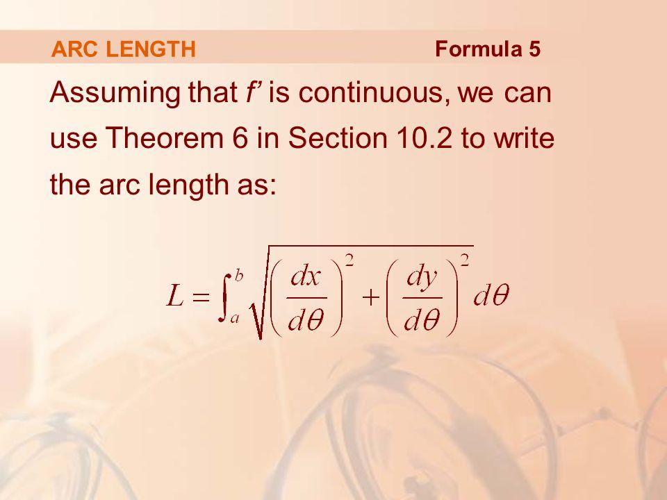 ARC LENGTH Formula 5.