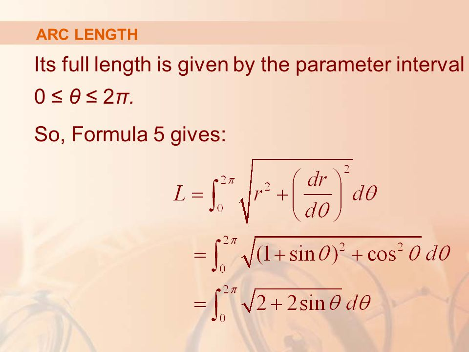 Its full length is given by the parameter interval 0 ≤ θ ≤ 2π.