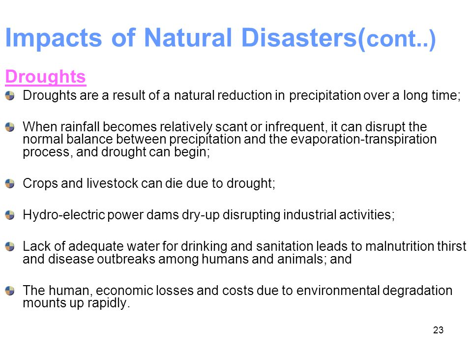 Impacts of Natural Disasters(cont..)