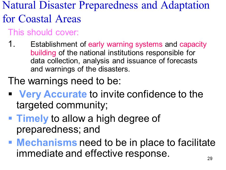 Natural Disaster Preparedness and Adaptation for Coastal Areas