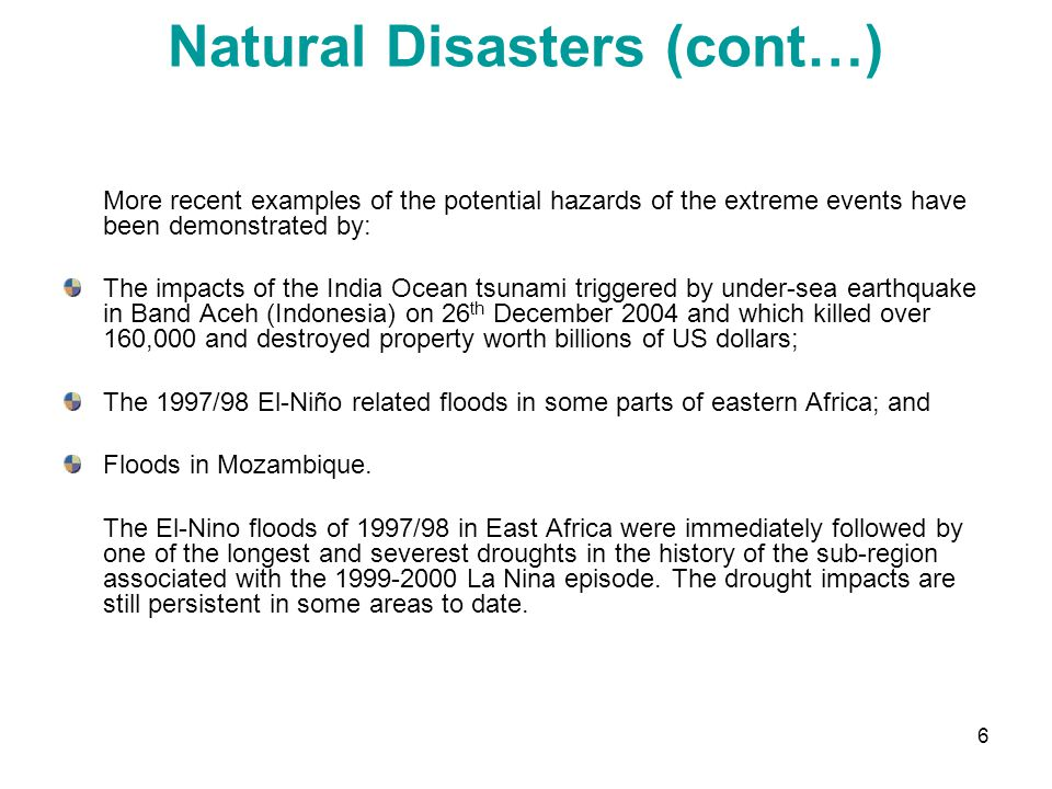 Natural Disasters (cont…)