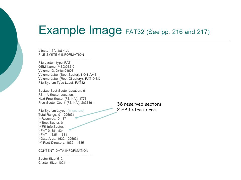 Example Image FAT32 (See pp. 216 and 217)