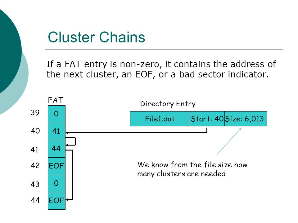 Cluster Chains If a FAT entry is non-zero, it contains the address of the next cluster, an EOF, or a bad sector indicator.