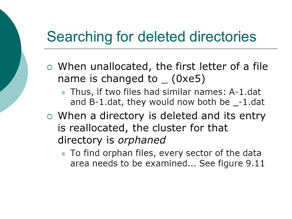 Searching for deleted directories