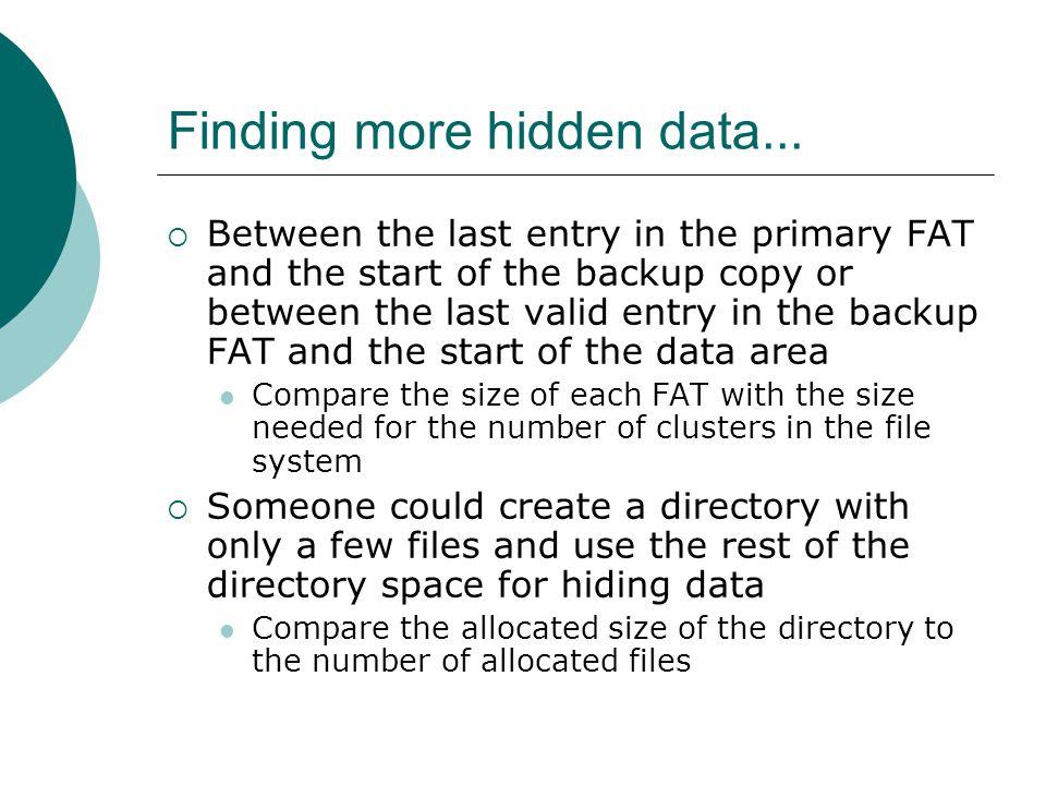 Finding more hidden data...