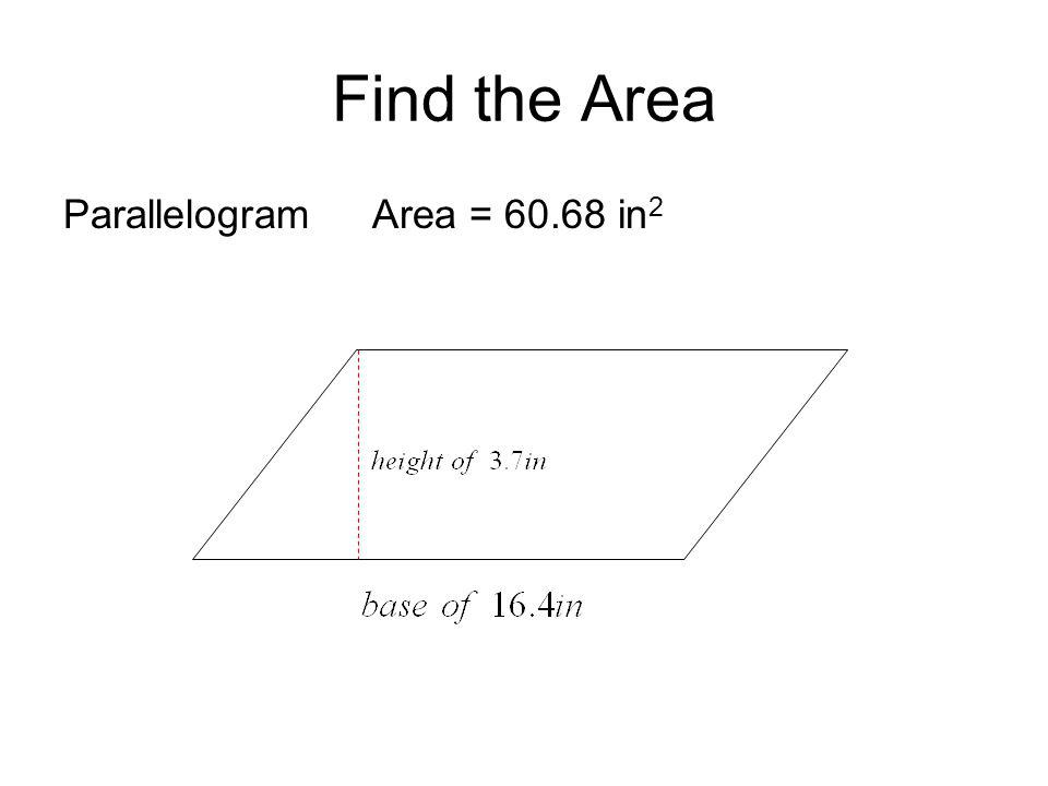 Find the Area Parallelogram Area = in2