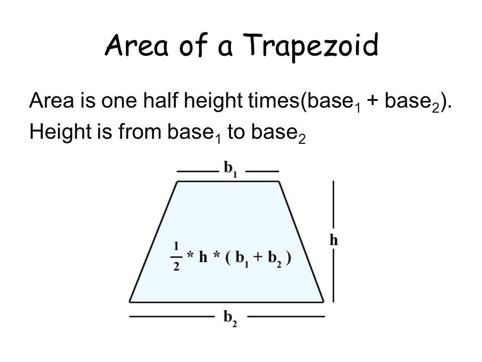 Area of a Trapezoid Area is one half height times(base1 + base2).