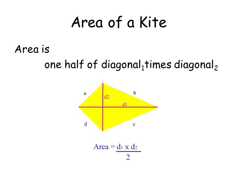 Area of a Kite Area is one half of diagonal1times diagonal2