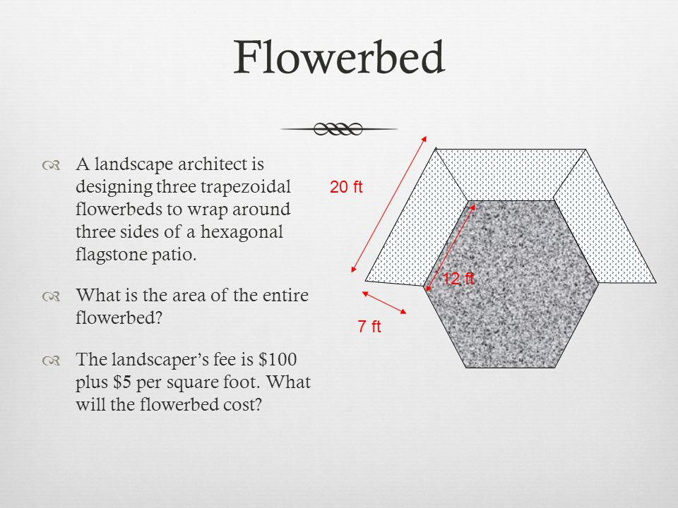 Flowerbed A landscape architect is designing three trapezoidal flowerbeds to wrap around three sides of a hexagonal flagstone patio.