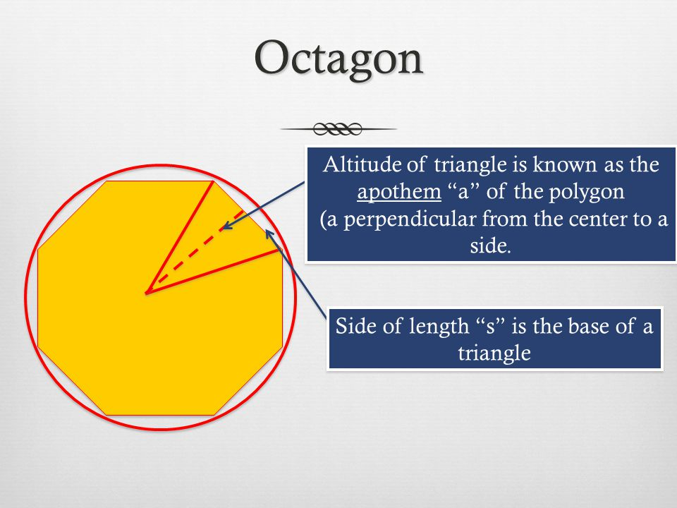 Octagon Altitude of triangle is known as the apothem a of the polygon. (a perpendicular from the center to a side.