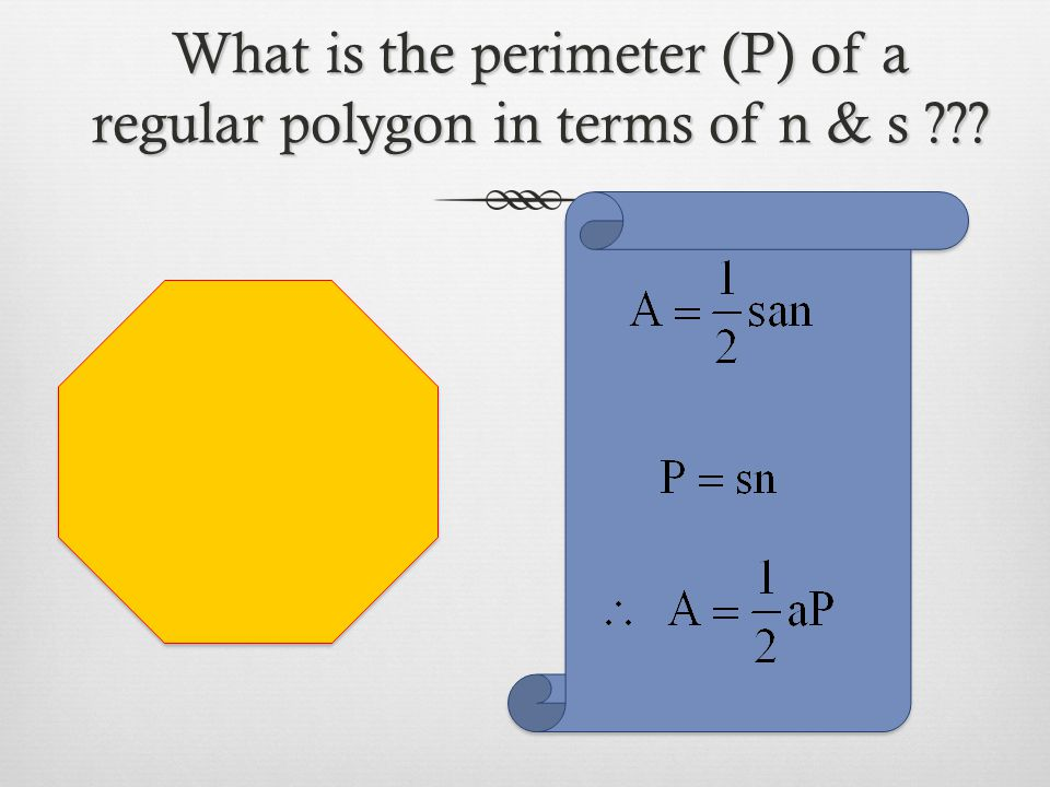 What is the perimeter (P) of a regular polygon in terms of n & s