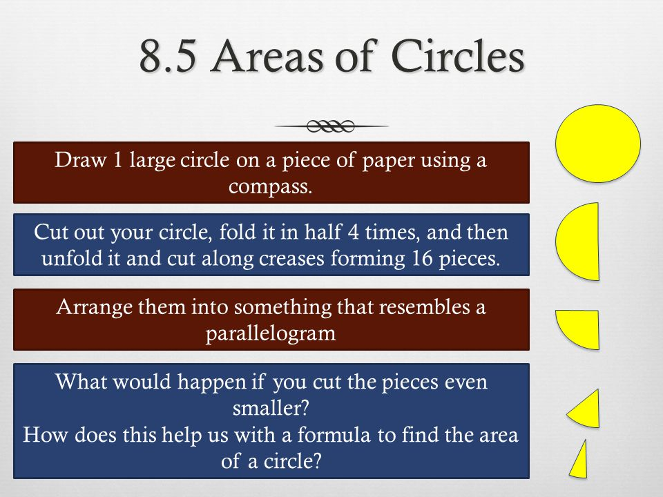 8.5 Areas of Circles Draw 1 large circle on a piece of paper using a compass.