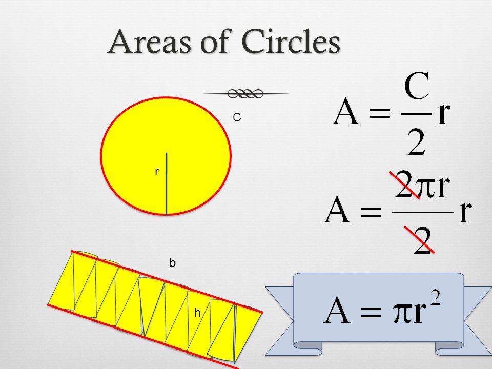Areas of Circles C r b h