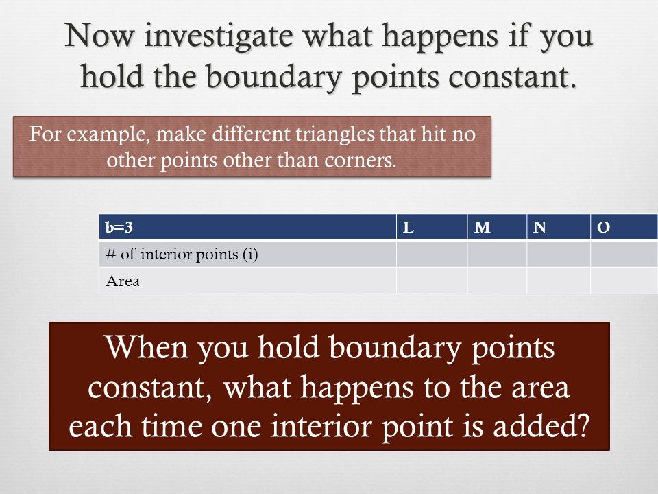 Now investigate what happens if you hold the boundary points constant.
