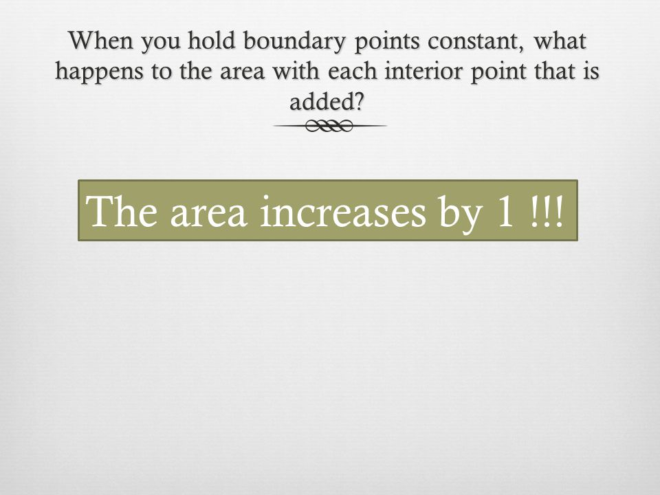 When you hold boundary points constant, what happens to the area with each interior point that is added