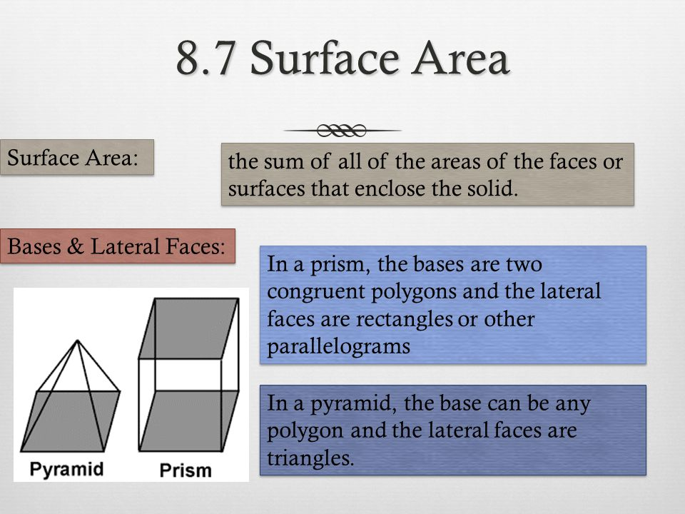 8.7 Surface Area Surface Area: