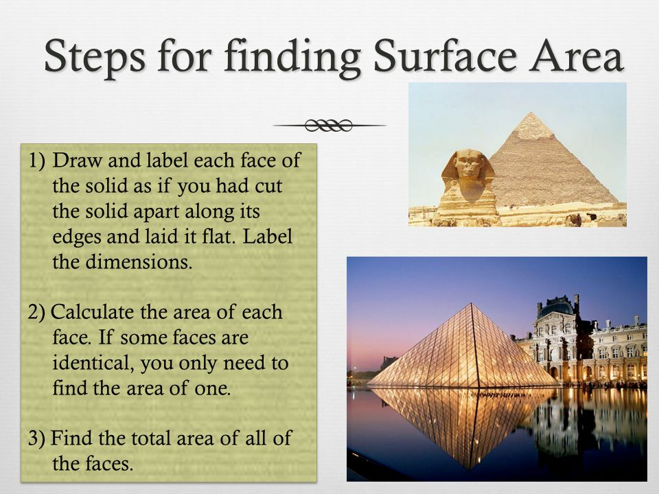 Steps for finding Surface Area