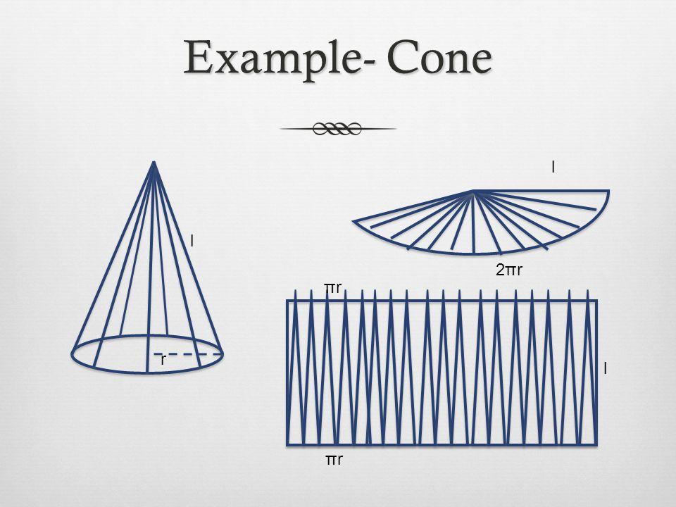 Example- Cone l l 2πr πr r l πr