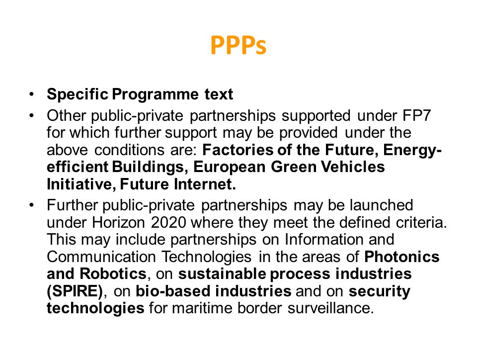 PPPs Specific Programme text