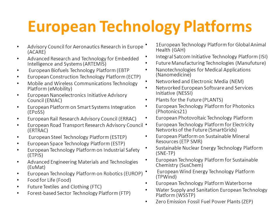 European Technology Platforms