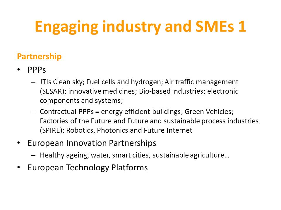 Engaging industry and SMEs 1
