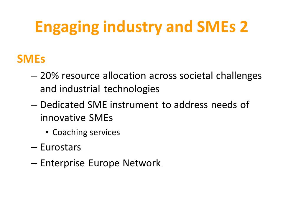 Engaging industry and SMEs 2