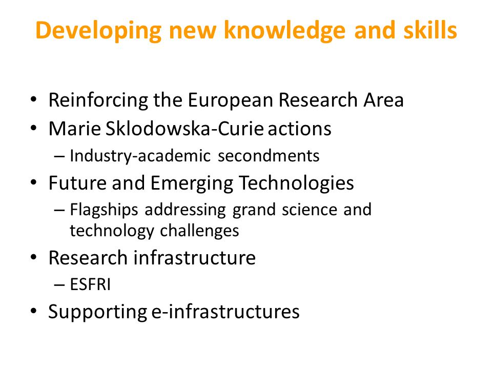 Developing new knowledge and skills