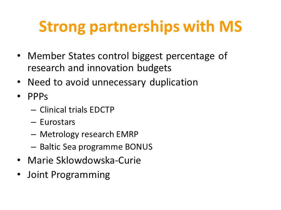 Strong partnerships with MS
