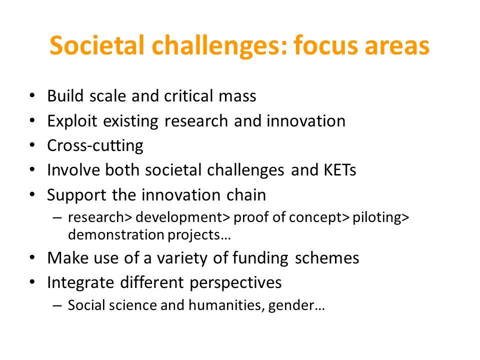 Societal challenges: focus areas