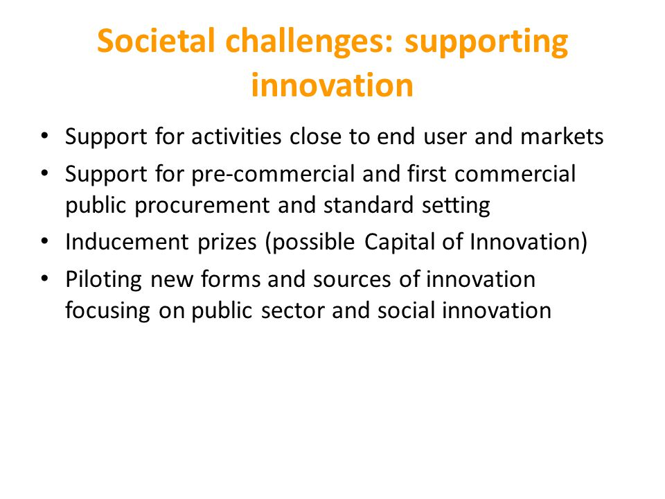 Societal challenges: supporting innovation