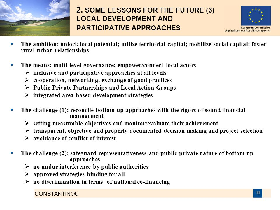 2. SOME LESSONS FOR THE FUTURE (3) LOCAL DEVELOPMENT AND PARTICIPATIVE APPROACHES