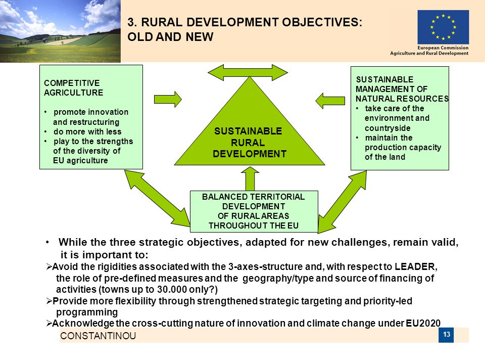 3. RURAL DEVELOPMENT OBJECTIVES: OLD AND NEW