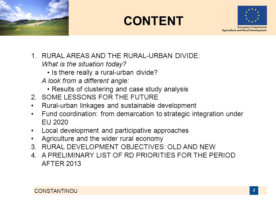 CONTENT 1. RURAL AREAS AND THE RURAL-URBAN DIVIDE: